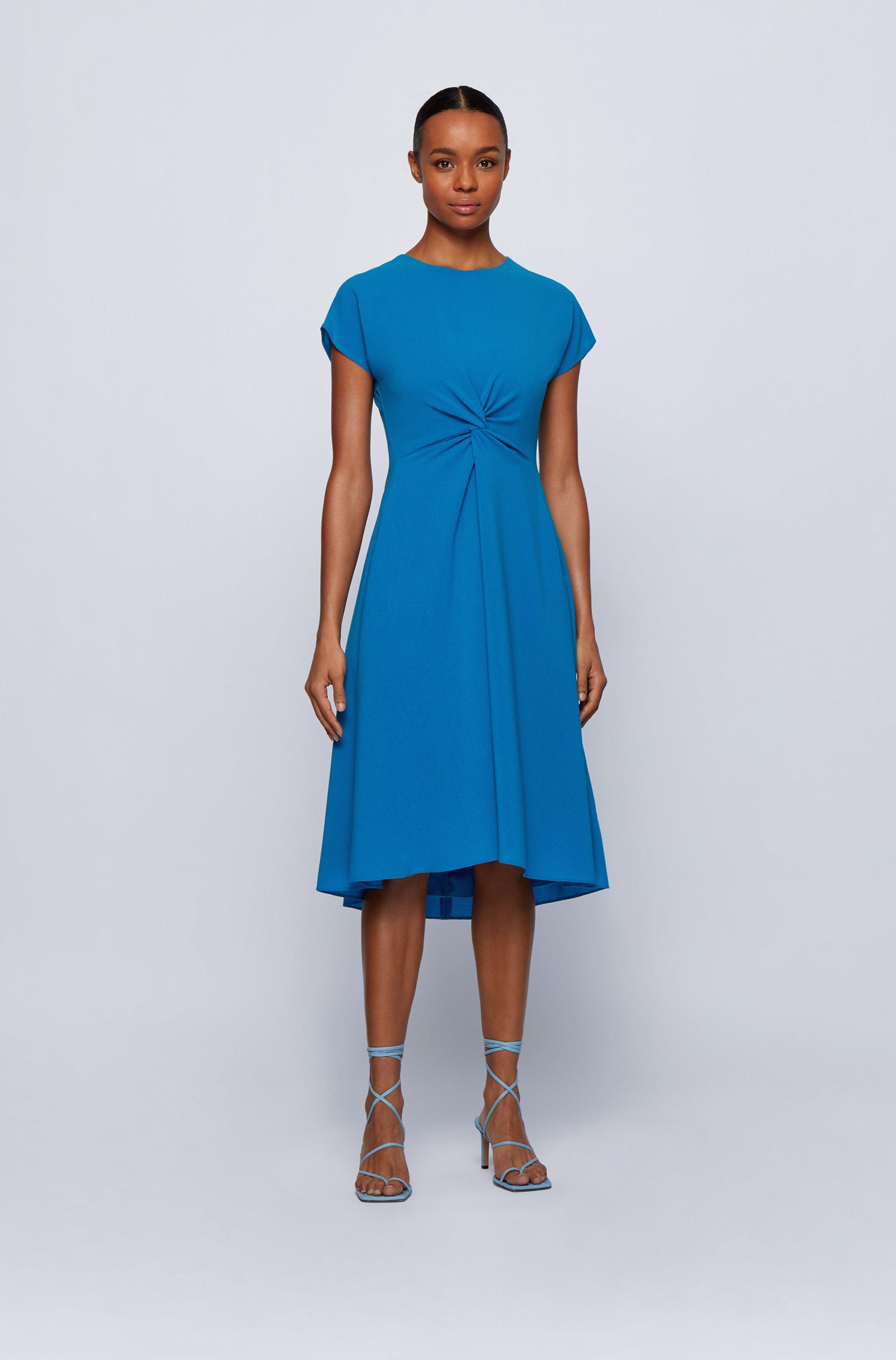 Kurzarm-Kleid aus Woll-Mix mit Knoten-Detail