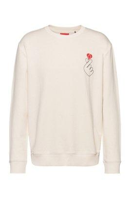 French-terry cotton sweatshirt with Valentine's Day artwork, White
