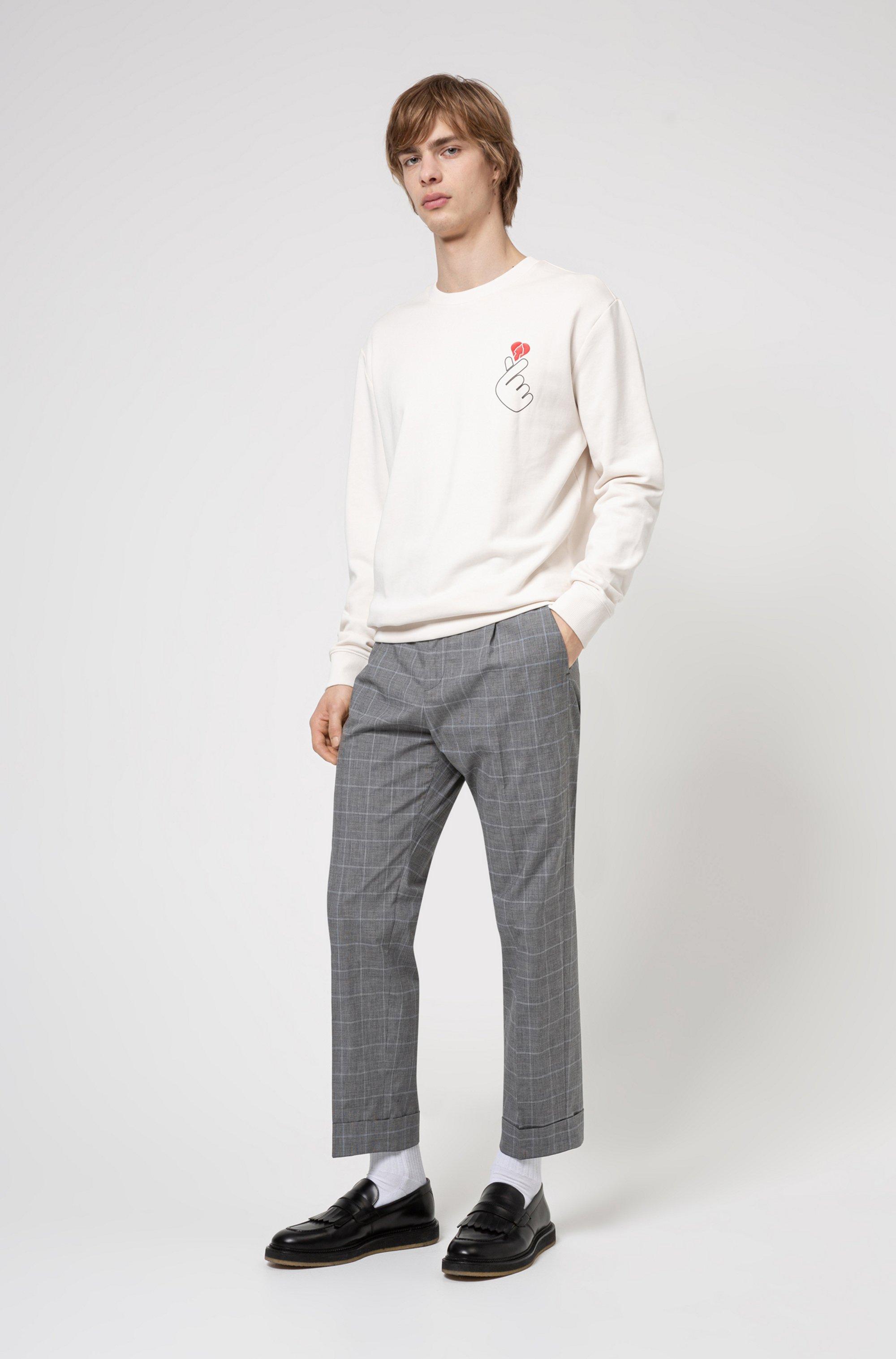 French-terry cotton sweatshirt with Valentine's Day artwork