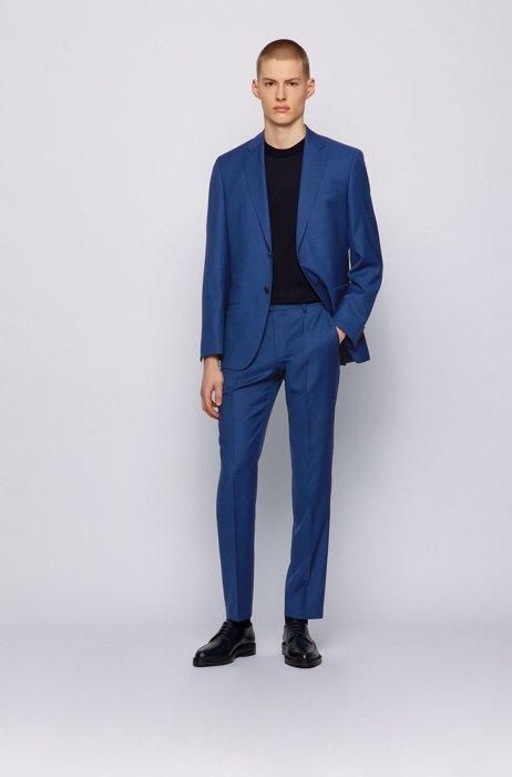 Regular-fit suit in micro-patterned virgin-wool serge, Blue
