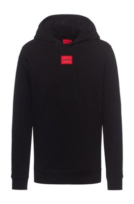 Regular-fit hoodie in French terry with logo patch, Black