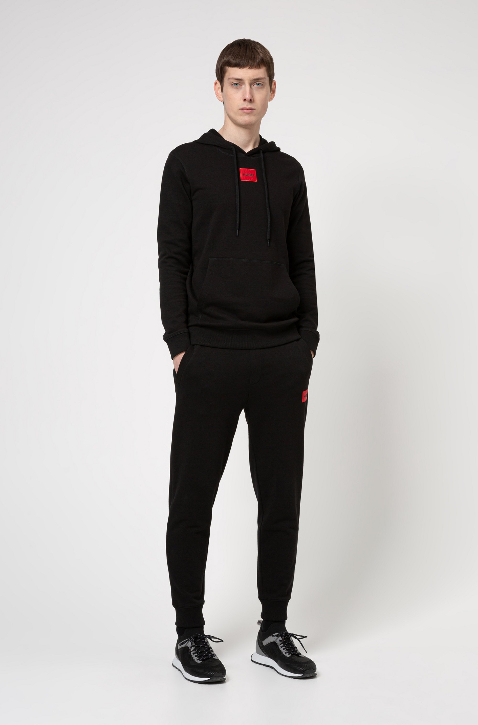 Regular-fit hoodie in French terry with logo patch