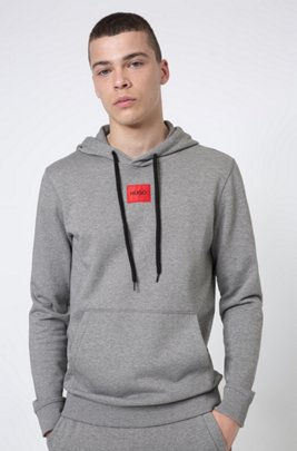 Regular-fit hoodie in French terry with logo patch, Grey