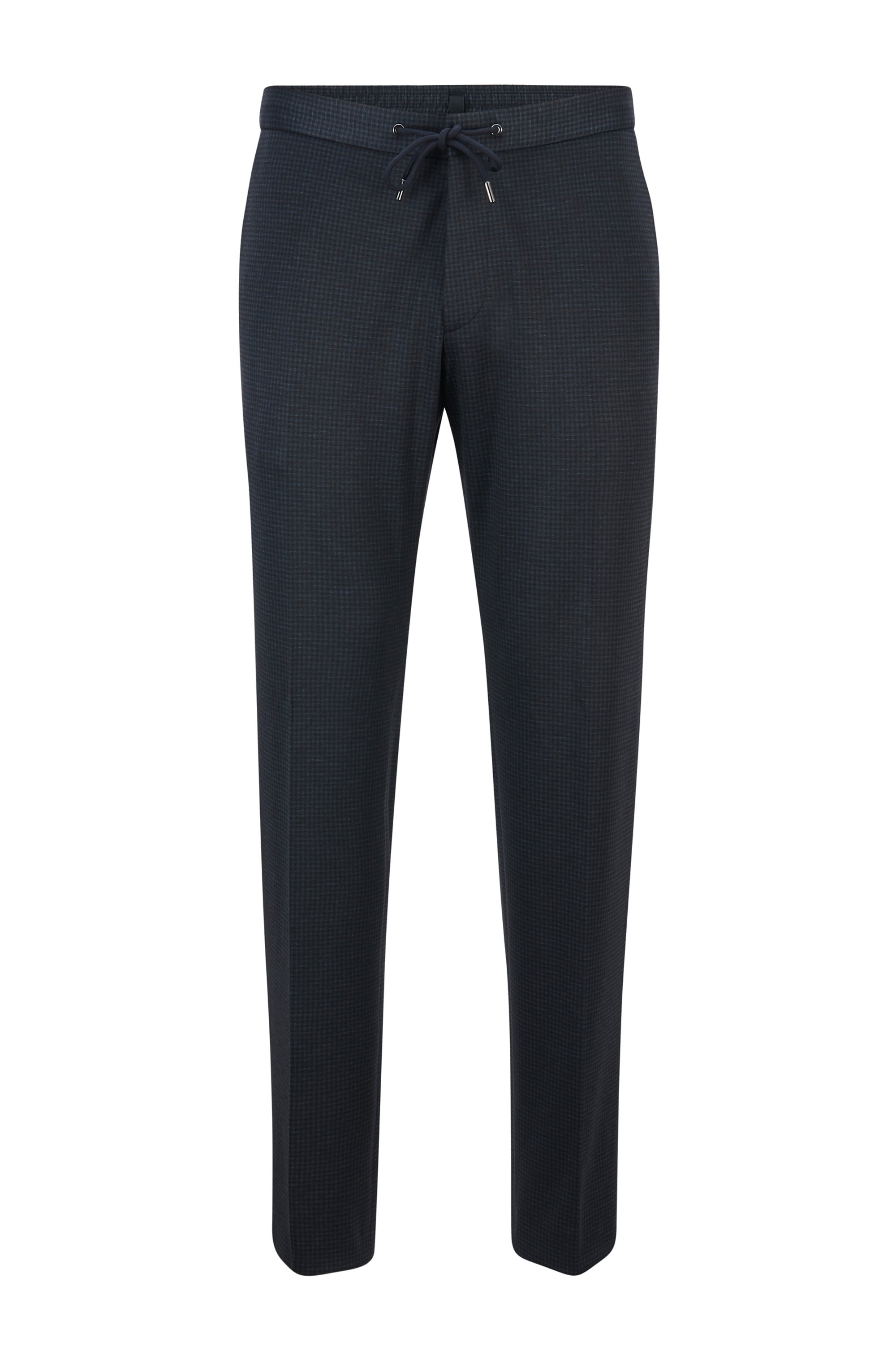 Slim-fit trousers in micro-patterned fabric, Dark Blue