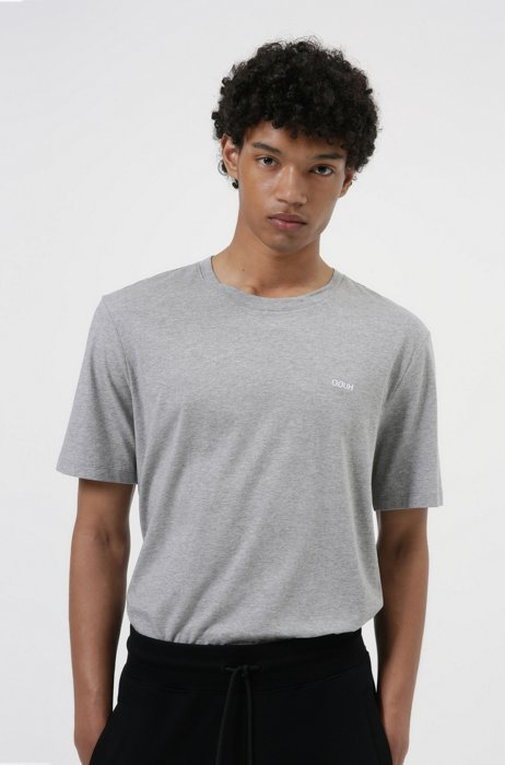 Cotton T-shirt with embroidered reversed logo, Grey