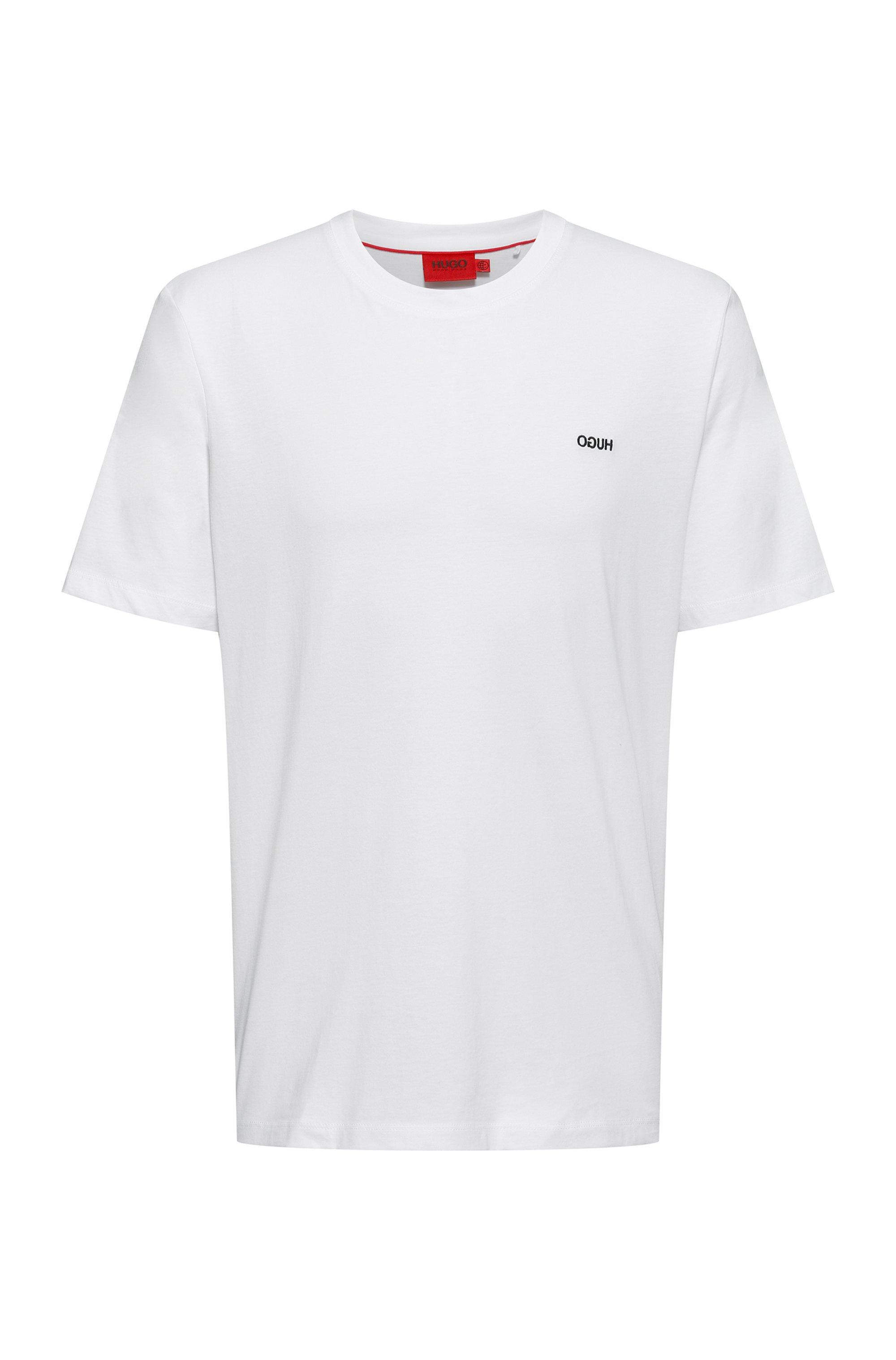 T-shirt en coton à logo inversé brodé, Blanc