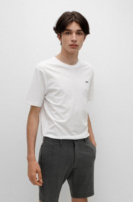 Cotton T-shirt with embroidered reversed logo, White