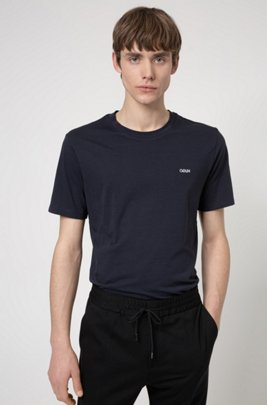 Cotton T-shirt with embroidered reversed logo, Dark Blue
