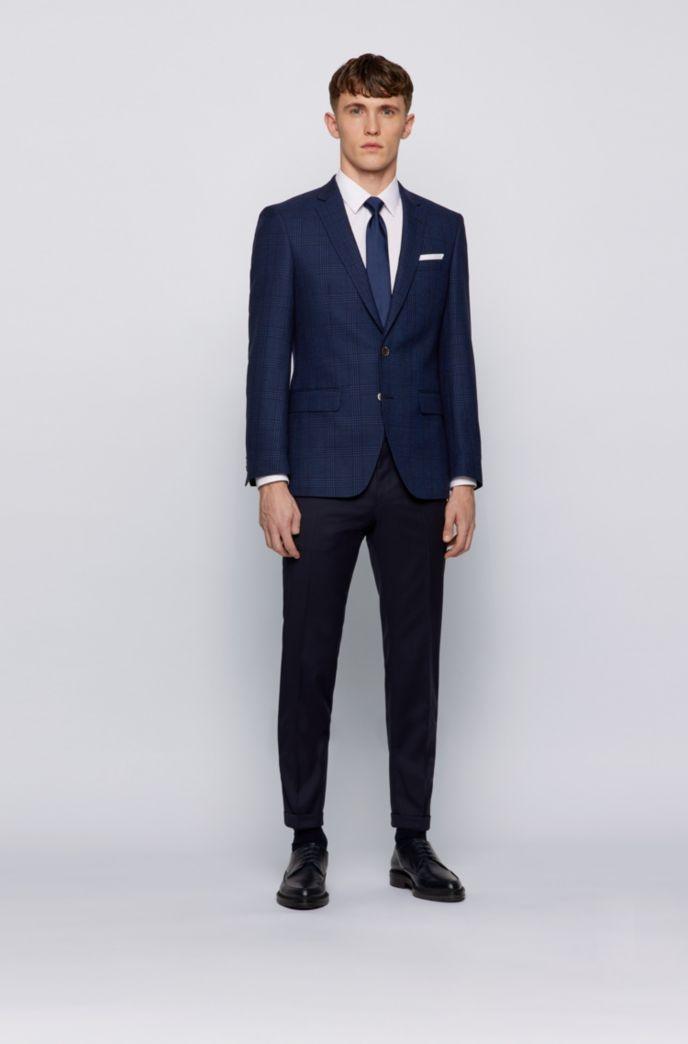Slim-fit jacket in virgin wool, linen and silk