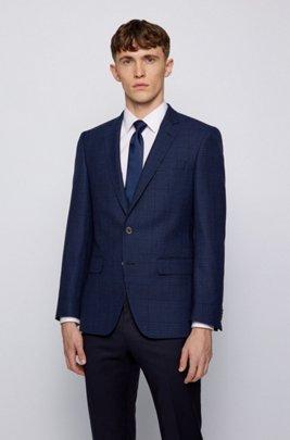 Slim-fit jacket in virgin wool, linen and silk, Dark Blue