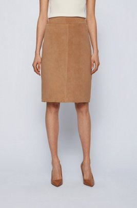 Pencil skirt in goat suede, Light Brown