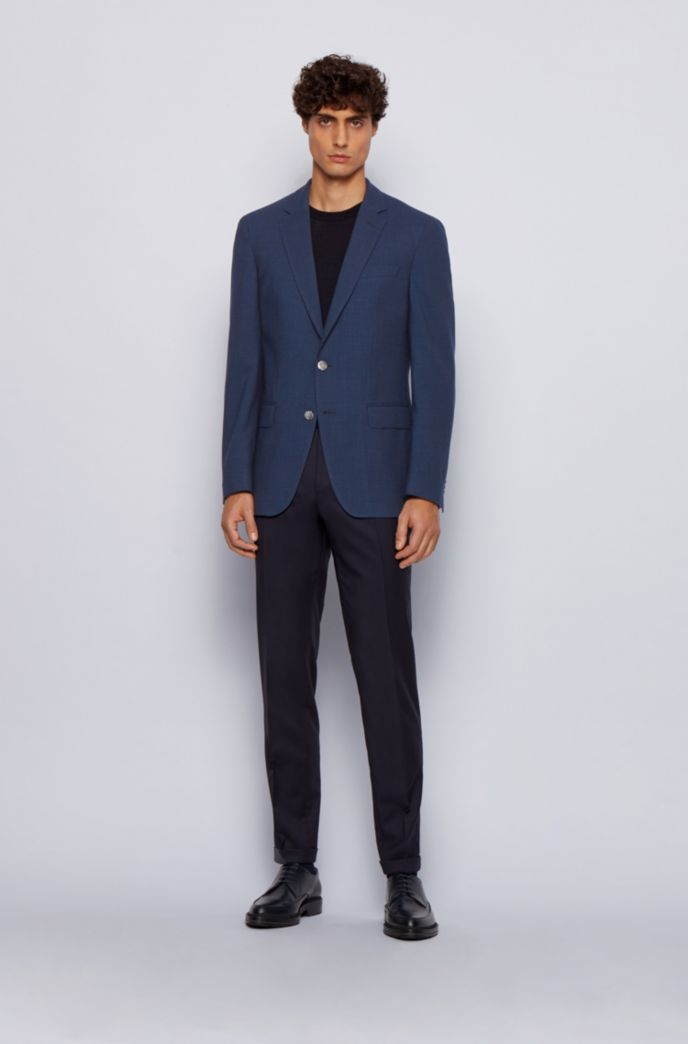 Patterned slim-fit jacket in stretch virgin wool