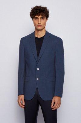 Patterned slim-fit jacket in stretch virgin wool, Blue