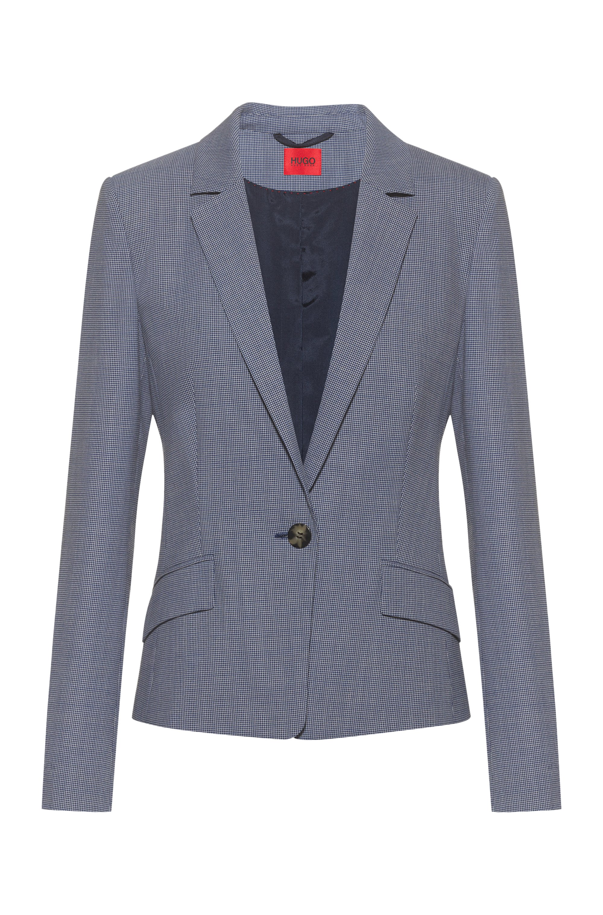 Patterned regular-fit blazer in a stretch-cotton blend, Blue