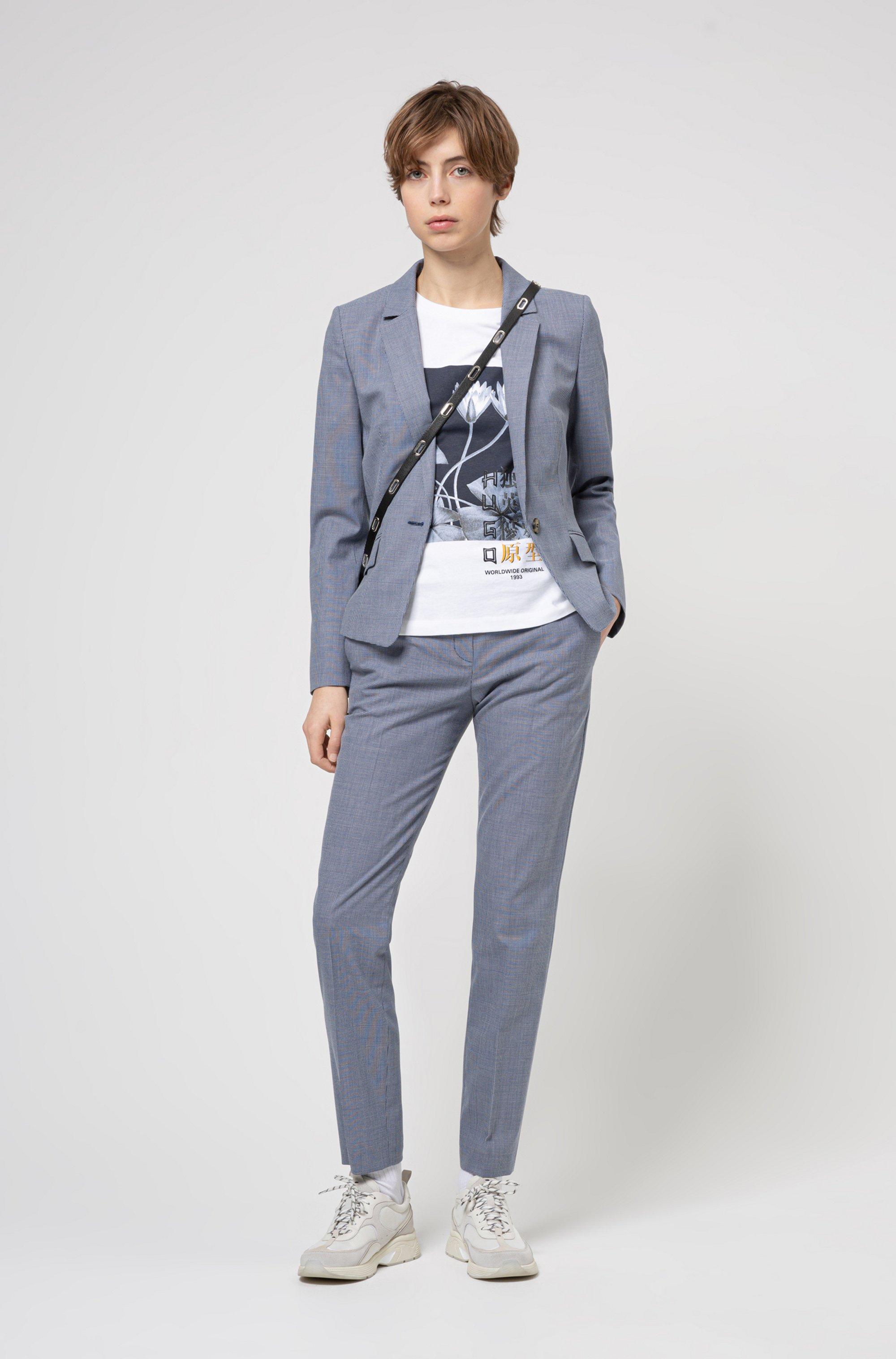 Patterned regular-fit blazer in a stretch-cotton blend
