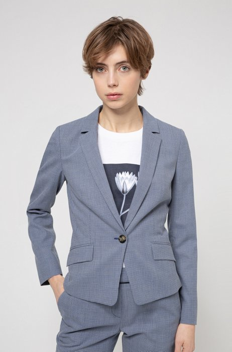 Patterned regular-fit blazer in a stretch-cotton blend, Blue