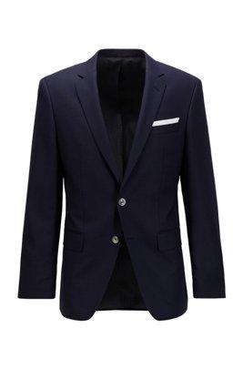 Micro-patterned slim-fit jacket in virgin wool, Dark Blue