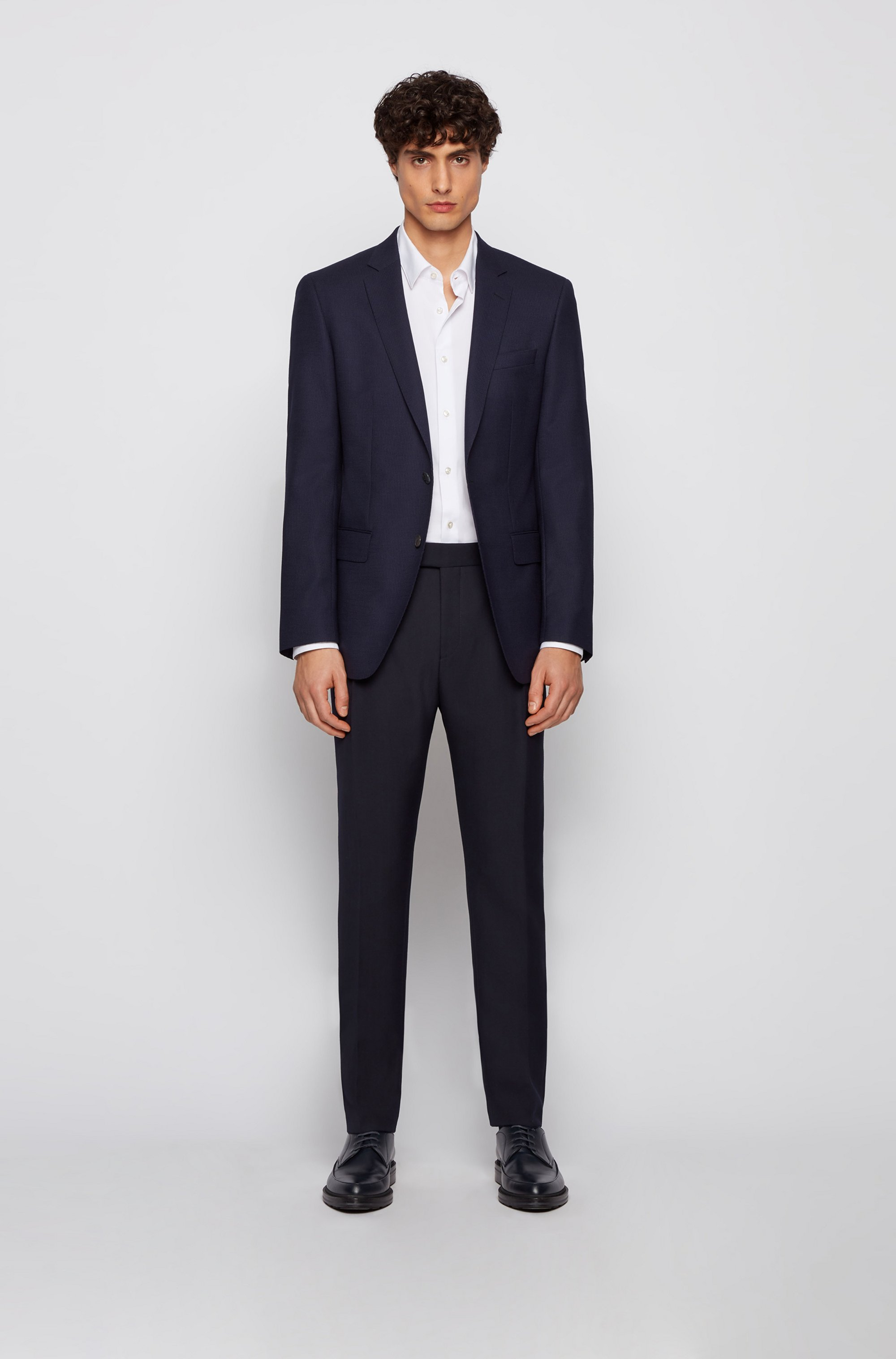 Micro-patterned slim-fit jacket in virgin wool
