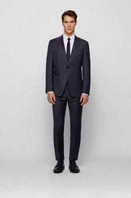 Slim-fit suit in patterned virgin wool, Dark Blue