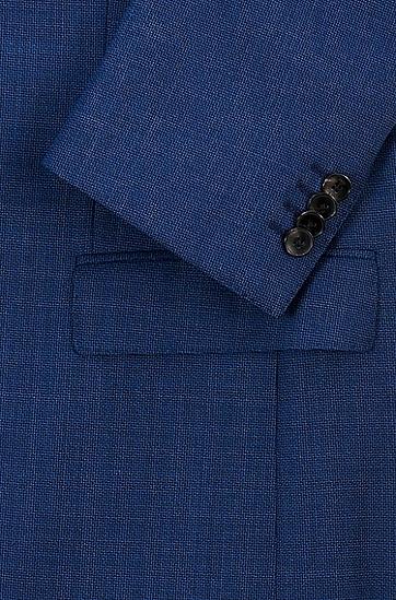 微图案可追踪初剪羊毛修身西装,  497_淡蓝色