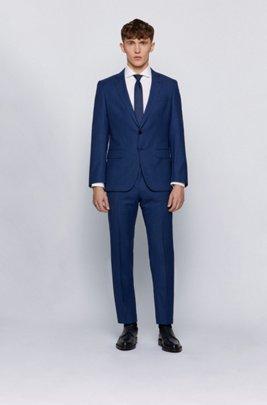 Slim-fit suit in micro-patterned traceable virgin wool, Blue