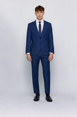 Slim-fit suit in micro-patterned traceable virgin wool, Blue