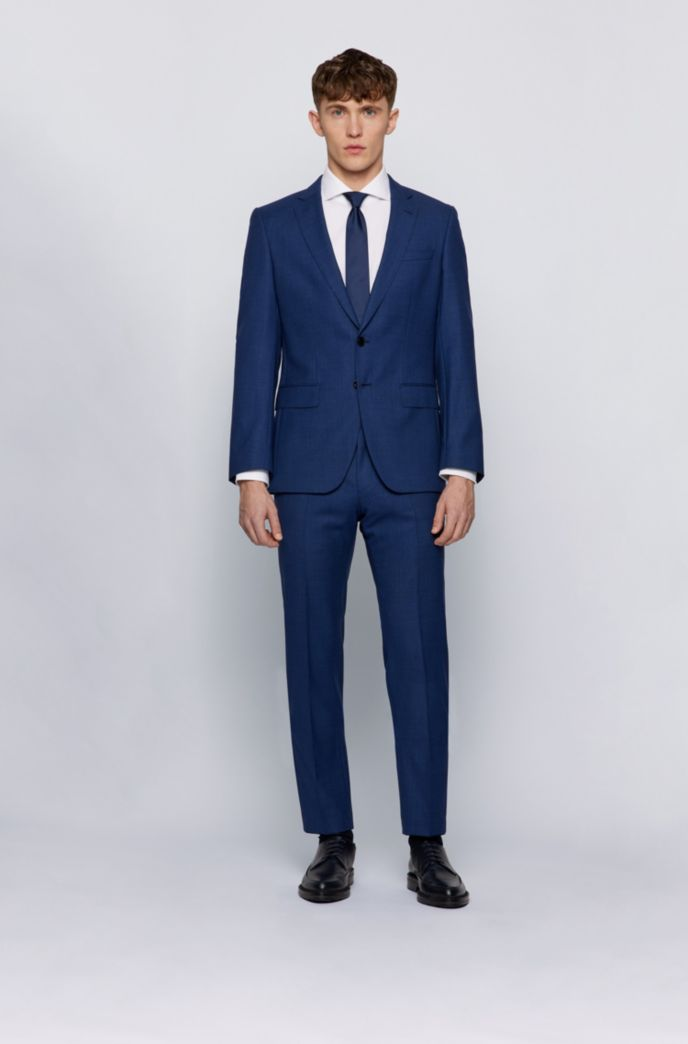 Slim-fit suit in micro-patterned traceable virgin wool