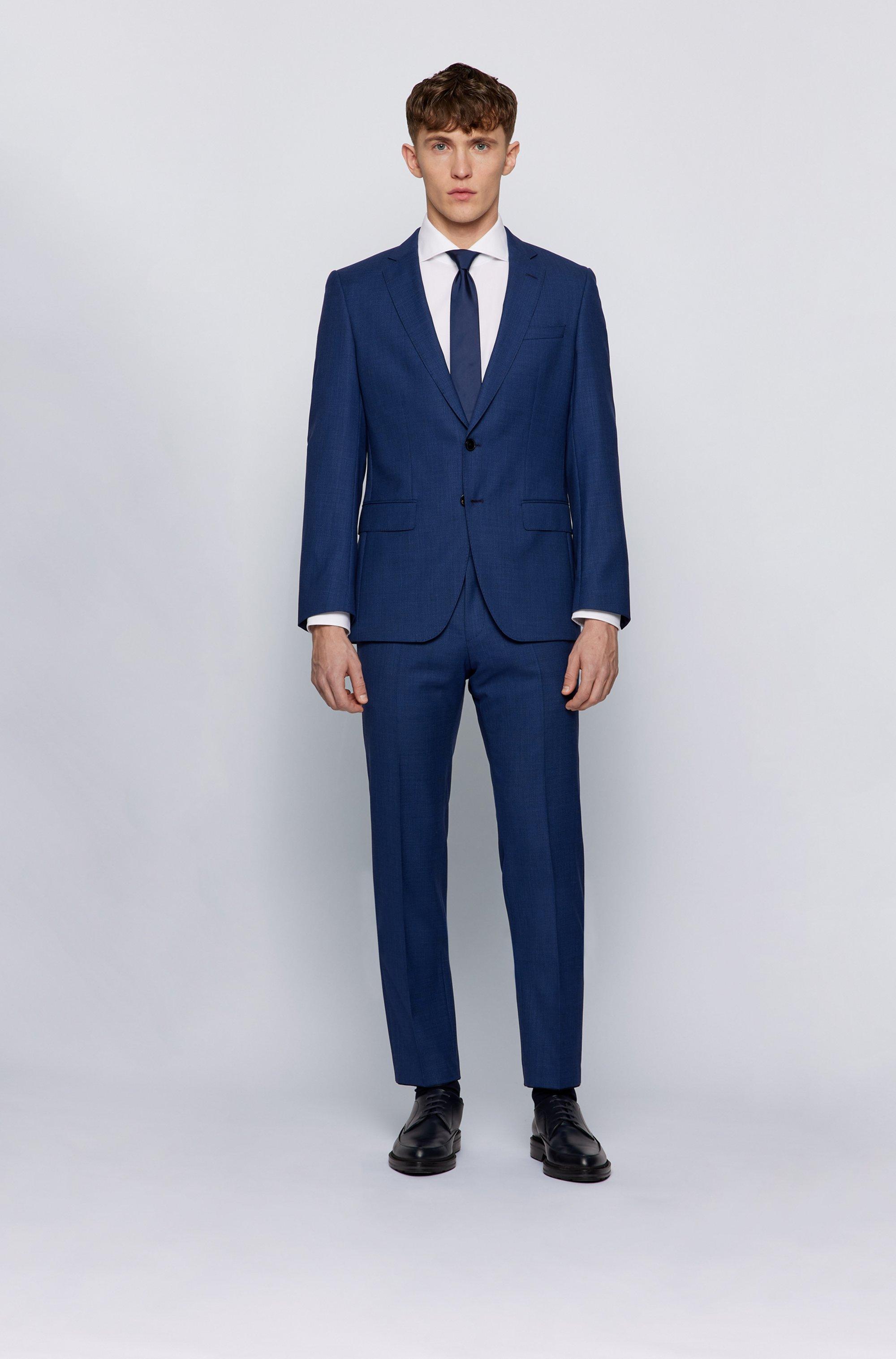 Slim-fit suit in micro-patterned traceable virgin wool