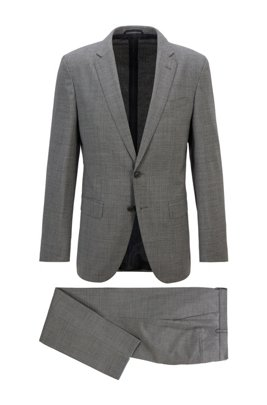 Slim-fit suit in micro-patterned stretch fabric, Dark Grey