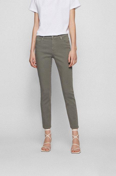 Slim-fit jeans van overgeverfd stretchdenim, Donkergroen
