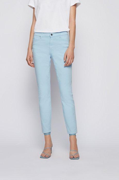 Slim-fit jeans in overdyed stretch denim, Light Blue