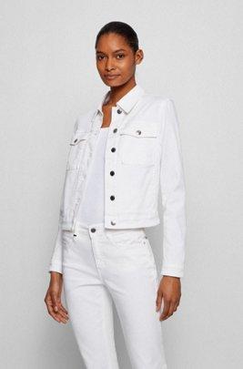 Cazadora slim fit de tejido vaquero elástico blanco, Blanco