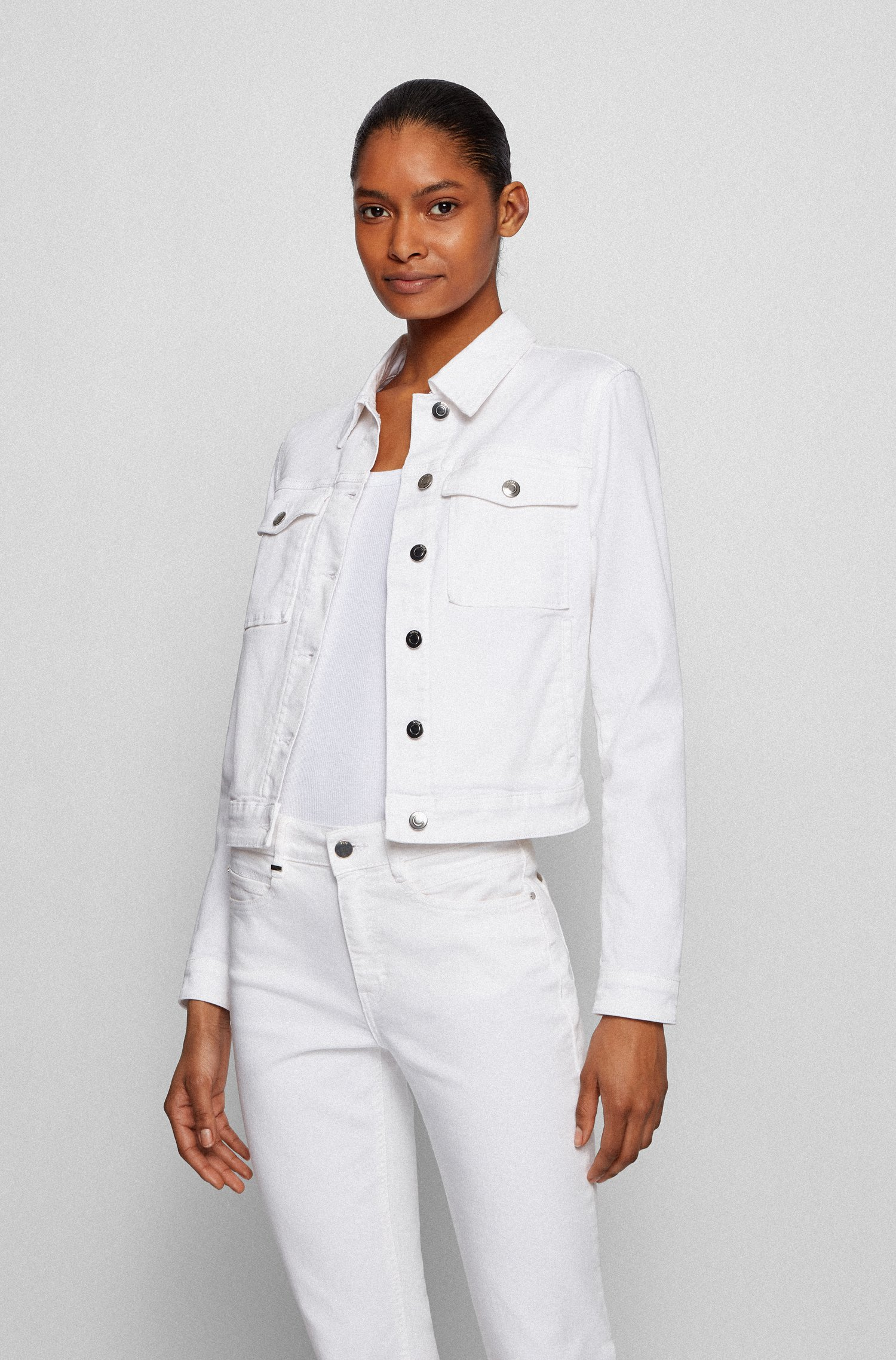 Veste Slim Fit en denim stretch blanc, Blanc