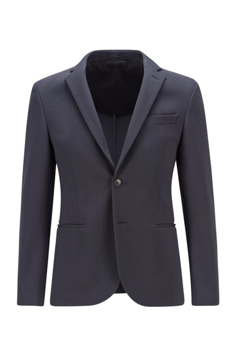 Micro-patterned slim-fit jacket in stretch jersey, Dark Blue