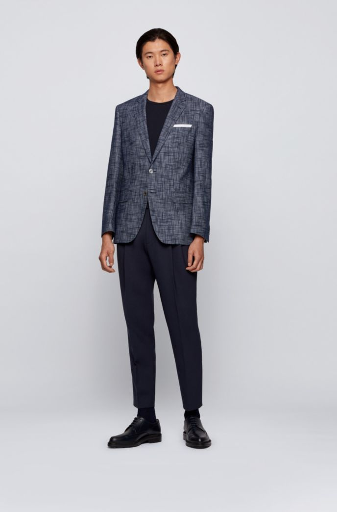 Cotton-blend slim-fit jacket with pocket square
