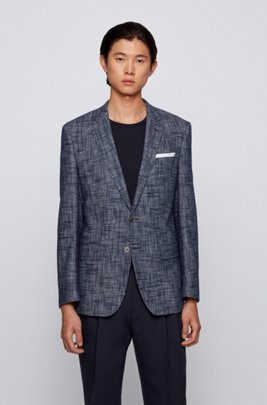 Cotton-blend slim-fit jacket with pocket square, Dark Blue