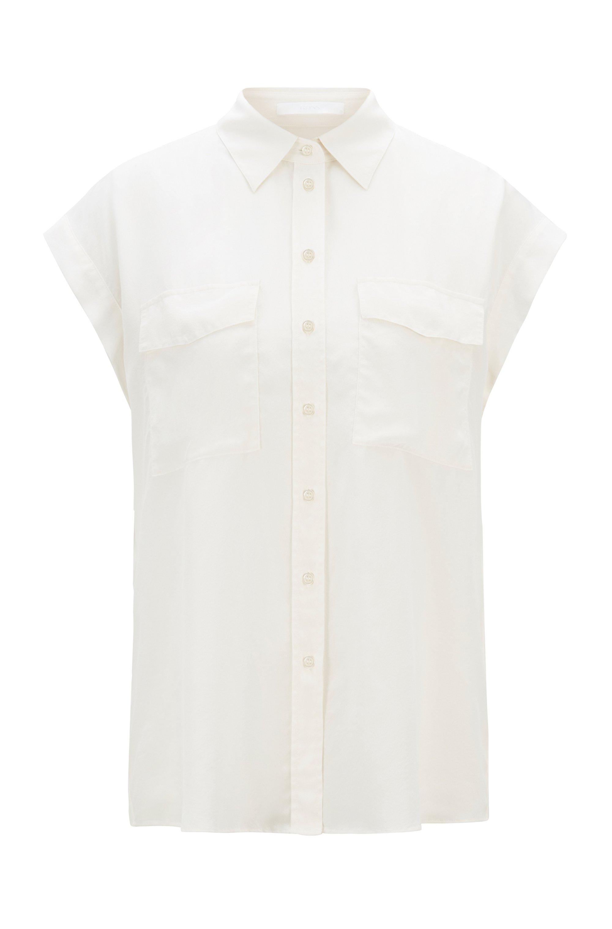 Ärmellose Regular-Fit Bluse aus sandgewaschener Seide, Weiß