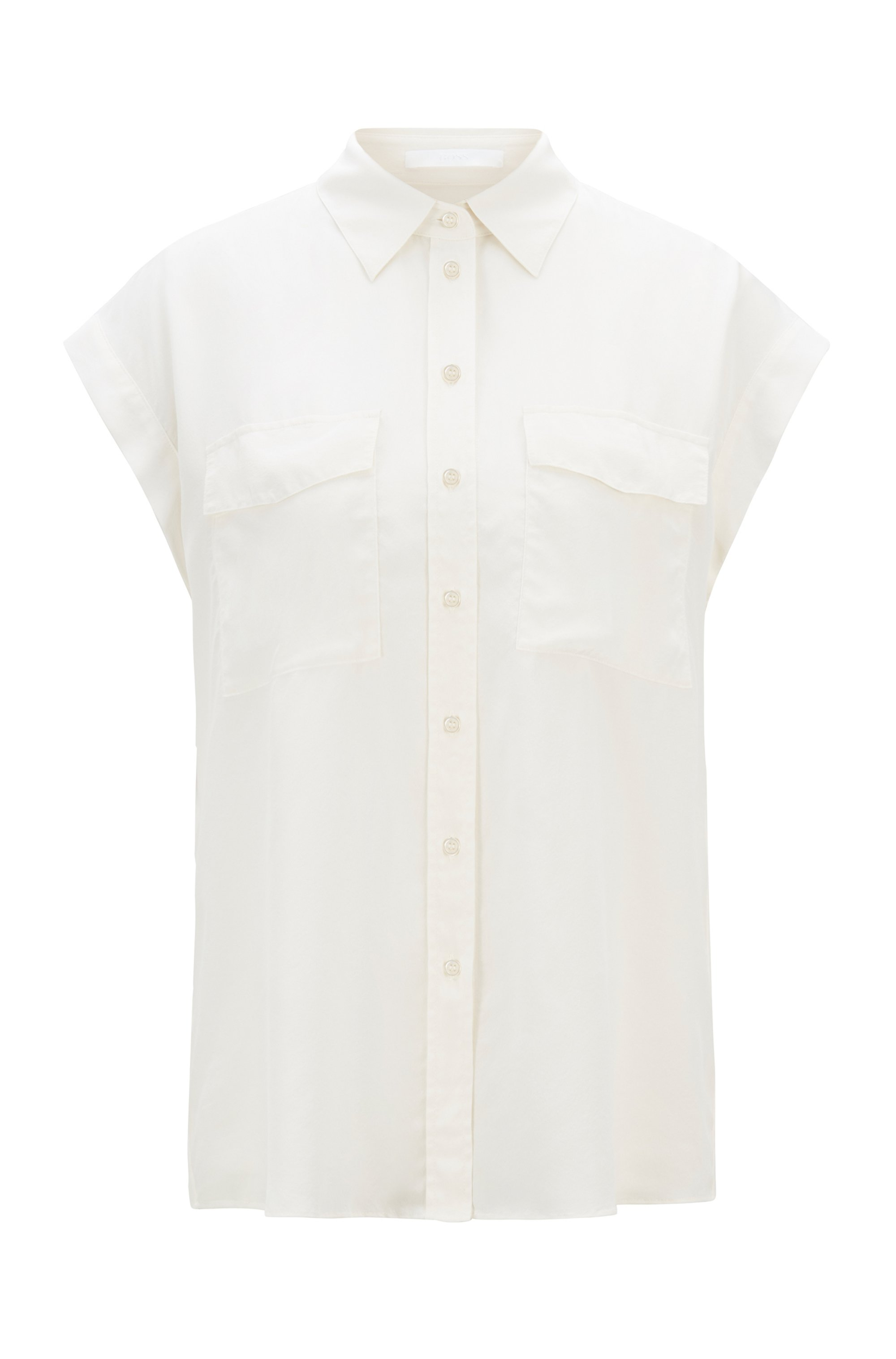 Sleeveless regular-fit blouse in sand-washed silk, White