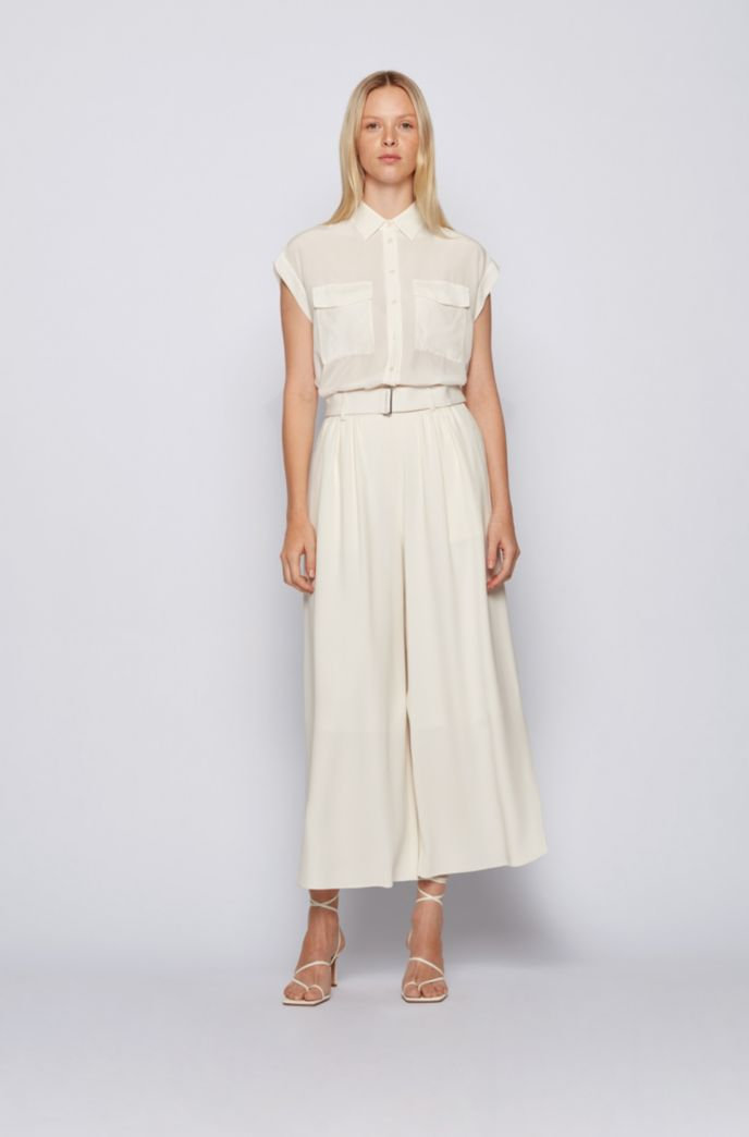 Sleeveless regular-fit blouse in sand-washed silk
