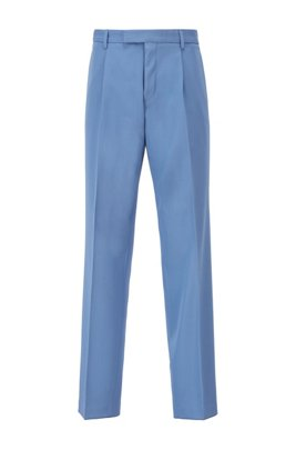 Relaxed-fit trousers in virgin wool with French pocket, Light Blue