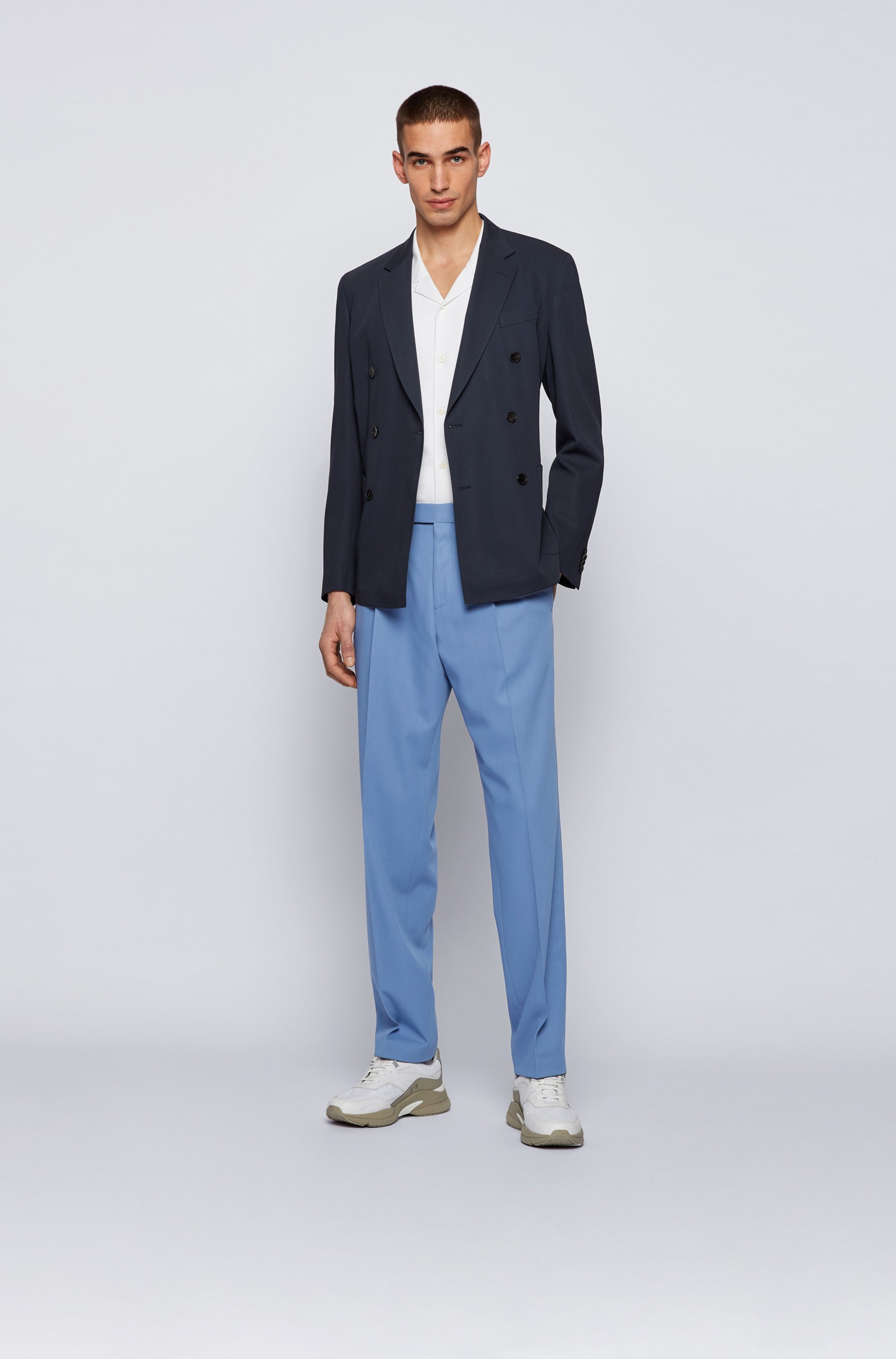 Relaxed-fit trousers in virgin wool with French pocket