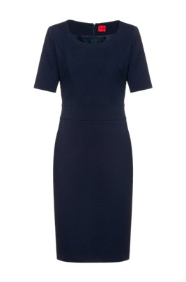 Stretch-jersey shift dress with feature seaming, Dark Blue