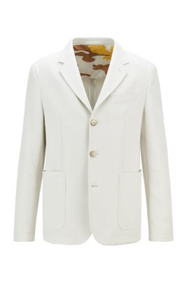 Cotton slim-fit jacket with camouflage-print lining, White