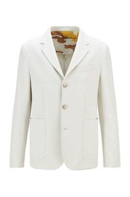 Veste Slim Fit en coton avec doublure à imprimé camouflage, Blanc