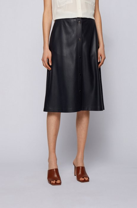 A-line skirt in perforated faux leather with press studs, Dark Blue