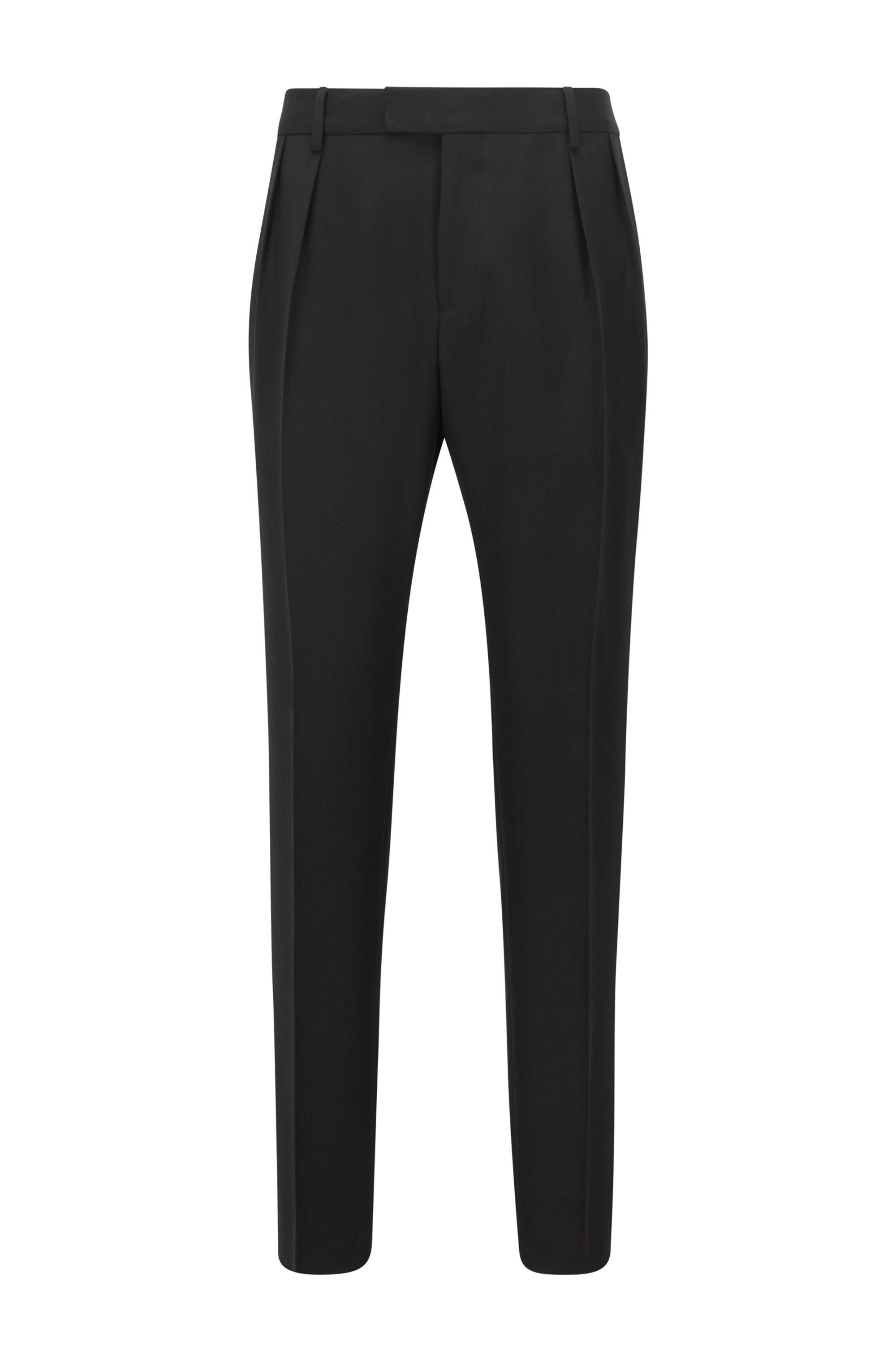 Pantalones extra slim fit con pinzas delanteras, Negro