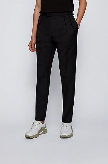 修身打褶长裤,  001_Black