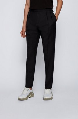 Extra-slim-fit trousers with front pleats, Black