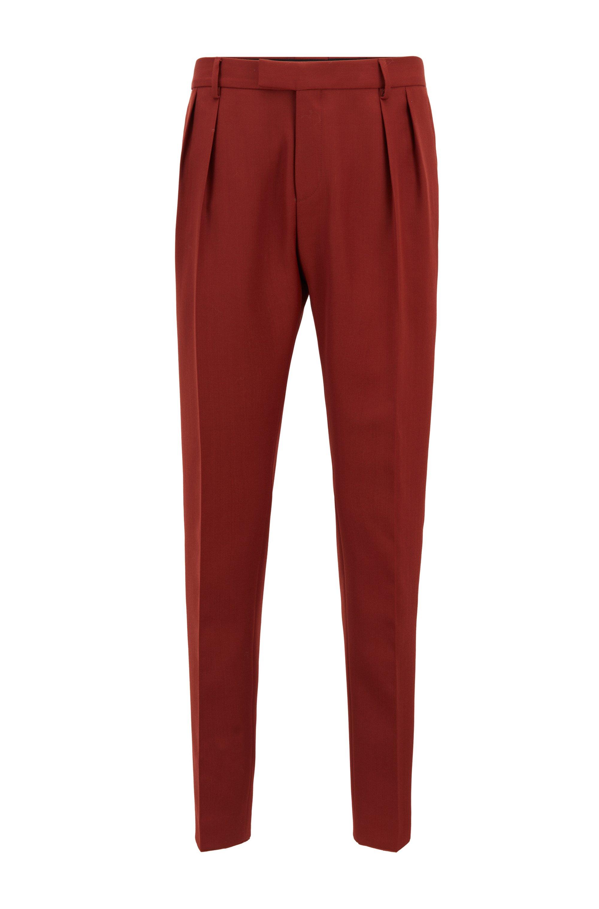 Pantaloni extra slim fit con pieghe sulla parte anteriore, Marrone