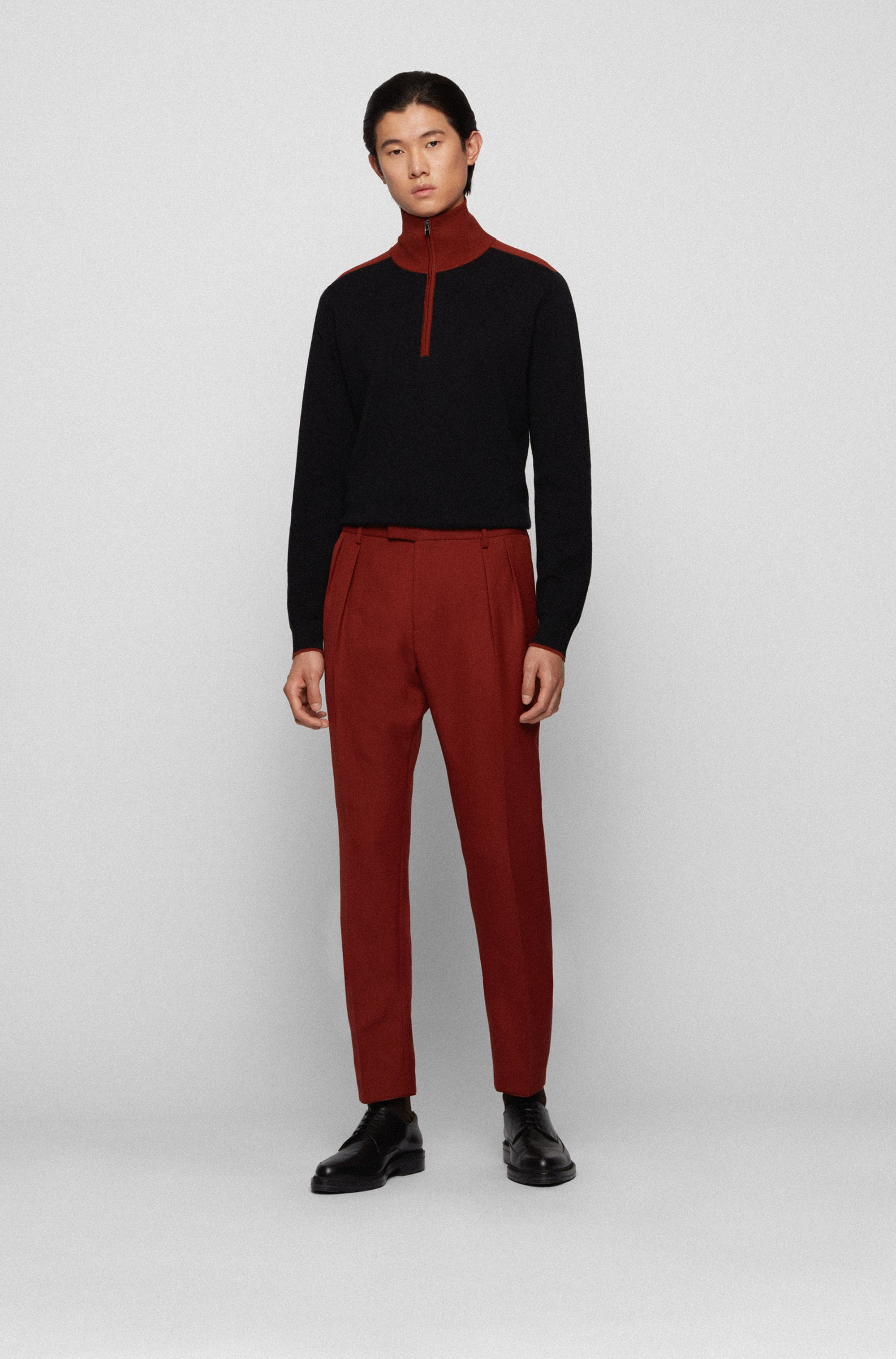 Extra-slim-fit trousers with front pleats